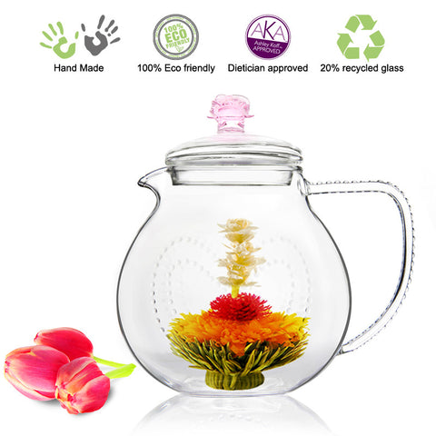 Artful Glass Teapot Pink Rose Love 34 oz / 1000 ml Lead Free Non Drip Eco Friendly