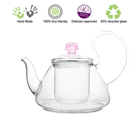 Artful Glass Teapot Pink Rose Pi 35 oz / 1035 ml Lead Free Non Drip Eco Friendly