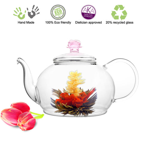 Artful Glass Teapot Rose Polo 45 oz  1330 ml Lead Free Non Drip Eco Friendly