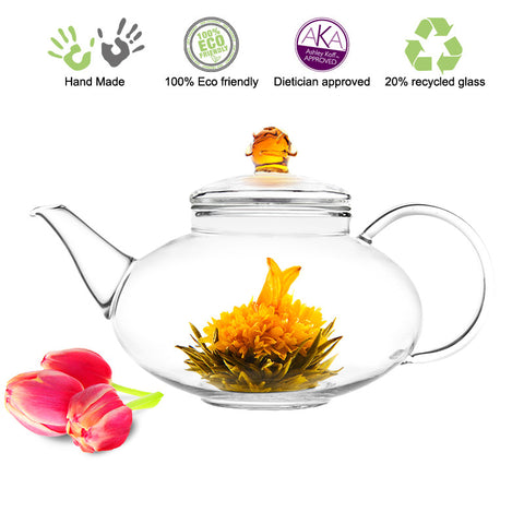 Artful Glass Teapot Rose Harmony 42 oz / 1242 ml Lead Free Non Drip Eco Friendly