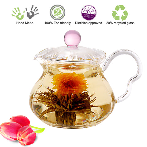Teapot Gift Set Teapot Pink Fairy 20 oz with Stainless Steel Tea Warmer Alex Lead Free Glass Non Drip