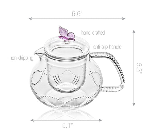 Teapot gift set Teapot Pink Butterfly 24 oz / 710 ml with Stainless Steel Tea warmer Alex