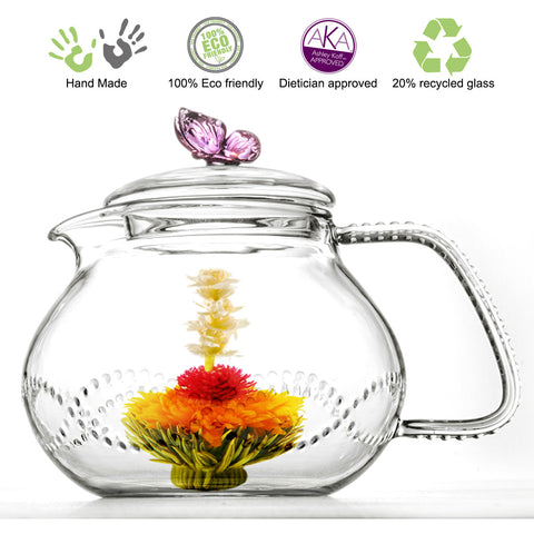 Teapot Butterfly 24 oz 710ml Non Drip Lead Free
