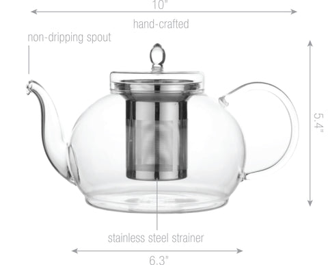Blooming Tea Teapot Warmer Set Polo 45 oz /1330 ml Tea Warmer Wave and Icded Blooming Tea Fab Flowering Tea 12 ct