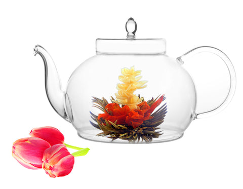 Tea Beyond Teapot Set Teapot Polo 45 oz/1330 ml Tea warmer Wave and Fab Flowering tea 4 cts Blooming Tea Set Flowering Tea