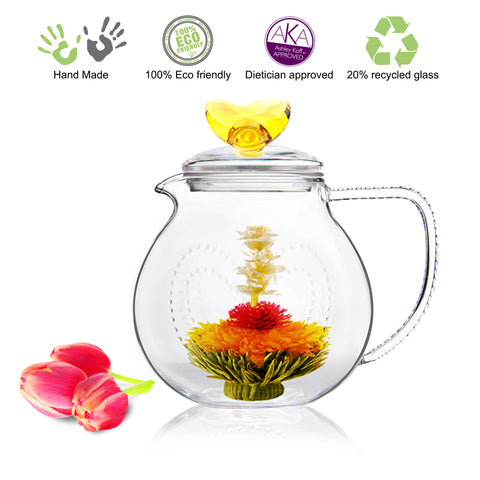 Gourmet Blooming Tea Set Amber Love 34 oz / 1000 ml and Fab Flowering Tea 4 Cts