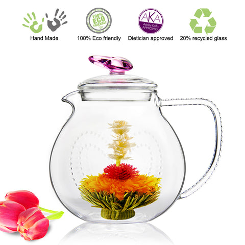Tea Set Pink Love 34 oz/1000 ml and DETOX Flowering Tea 4 cts White Tea Blooming Tea Gift