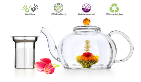 Clear Glass Tea Pot Royal 50 oz Non Drip Anti-slip Lead Free