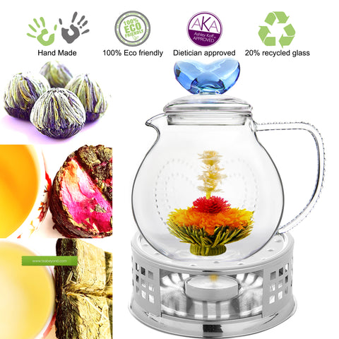 Flowering Tea Starter Kit Clear Glass Tea Pot Love 34 oz Stainless Steel Tea warmer Flowering Tea and Loose Tea