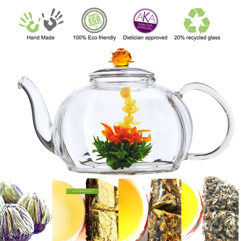 Flowering Tea Starter Kit Clear Glass Tea Pot Royal Rose 50 oz Flowering Tea and Loose Tea