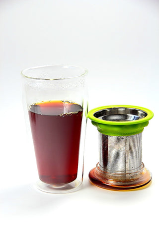 Double Wall Glass Eco Tea Tumbler Stainless Steel