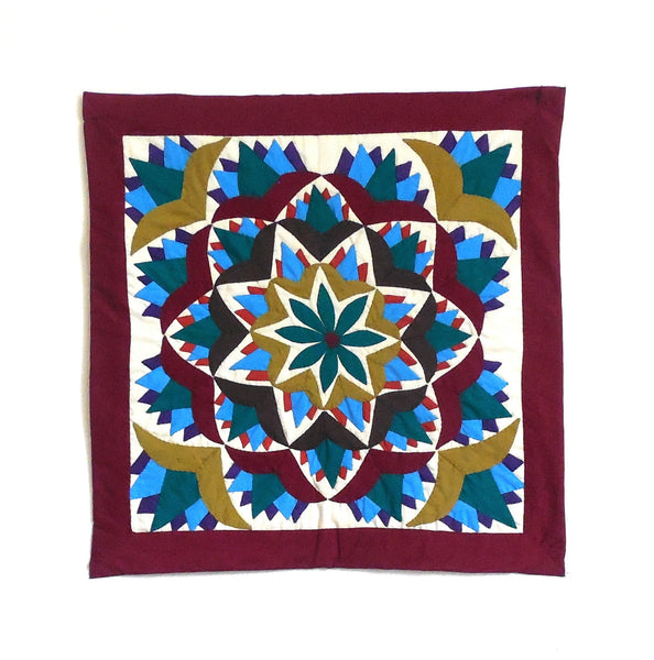 Blooming Lotus | Applique Art Wall Hanging Handstitched Egyptian Khayamiya - Arkan Gallery  - 1