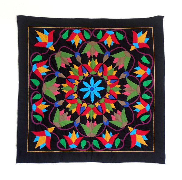 Mystic Lotus | Applique Art Wall Hanging Handstitched Egyptian Khayamiya - Arkan Gallery  - 1