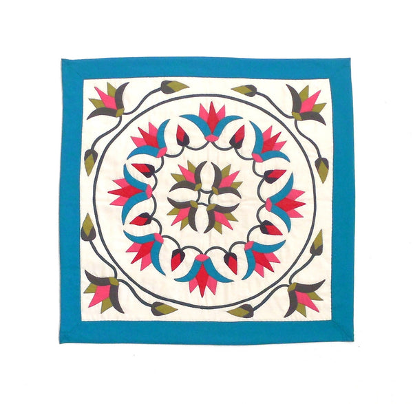 Festive Lotus | Applique Art Wall Hanging Handstitched Egyptian Khayamiya - Arkan Gallery  - 1