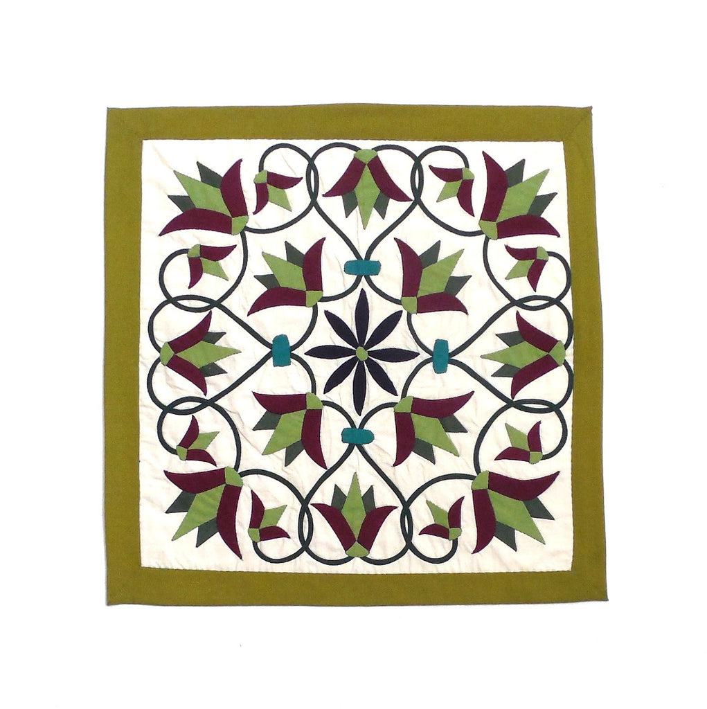 Enchanted Flower II | Applique Art Wall Hanging Handstitched Egyptian Khayamiya - Arkan Gallery  - 1