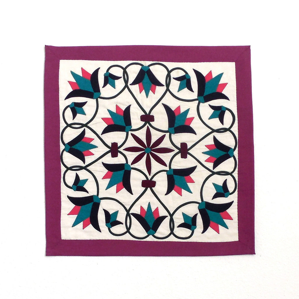 Enchanted Flower III | Applique Art Wall Hanging Handstitched Egyptian Khayamiya - Arkan Gallery  - 1