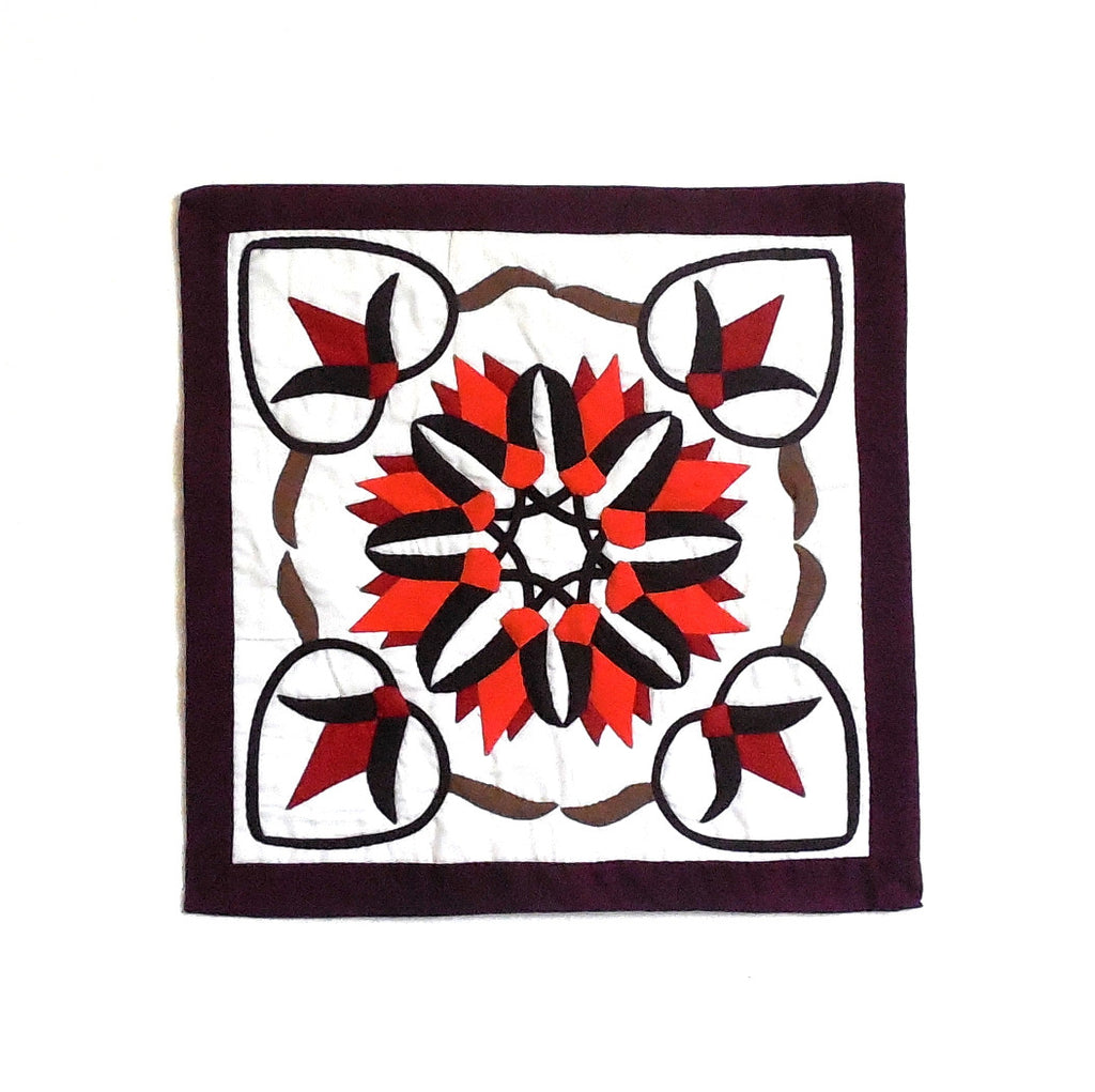 Orange Lotus | Applique Art Wall Hanging Handstitched Egyptian Khayamiya - Arkan Gallery  - 1