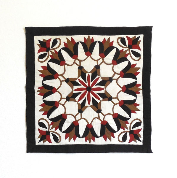 Earthy Lotus | Applique Art Wall Hanging Handstitched Egyptian Khayamiya - Arkan Gallery  - 1