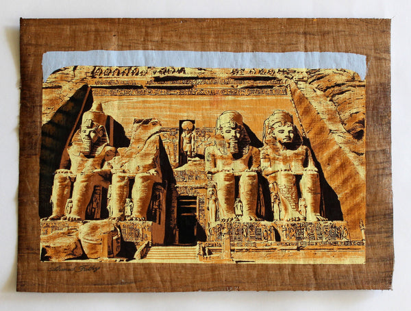 The Great Temple of Abu Simbel | Ancient Egyptian Papyrus Painting Main Arkan Gallery