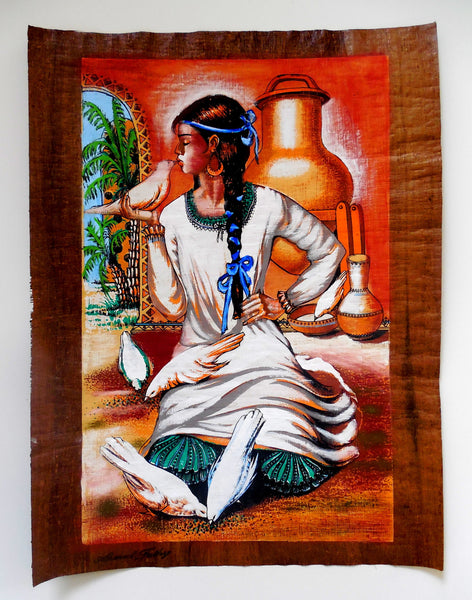 The nubian girl egyptian folklore papyrus painting for Egyptian mural paintings