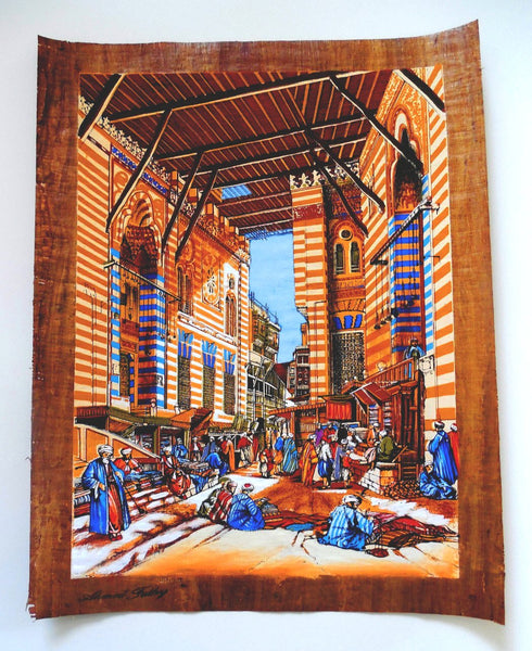 The Tentmakers of Cairo | Egyptian Folklore Papyrus Painting Main Arkan Gallery
