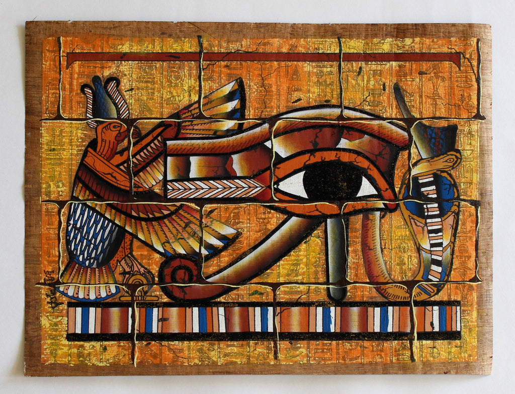 Eye of ra mural ancient egyptian papyrus painting for Egyptian wall mural