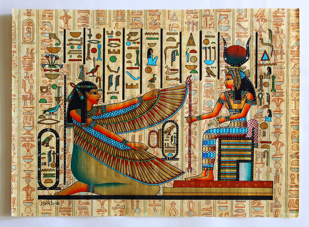 Maat and isis ancient egyptian papyrus painting arkan for Egyptian mural art
