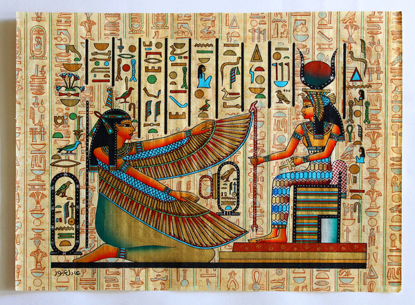 Maat and Isis | Ancient Egyptian Papyrus Painting Main Arkan Gallery