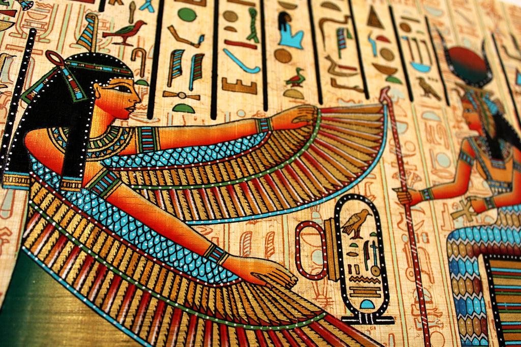Maat and Isis | Ancient Egyptian Papyrus Painting Closeup Arkan Gallery