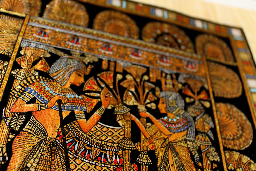 King Tut's Wedding Scene | Ancient Egyptian Papyrus Painting Closeup Arkan Gallery