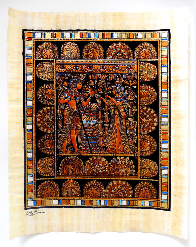 King tut 39 s wedding scene ancient egyptian papyrus for Ancient egyptian mural paintings