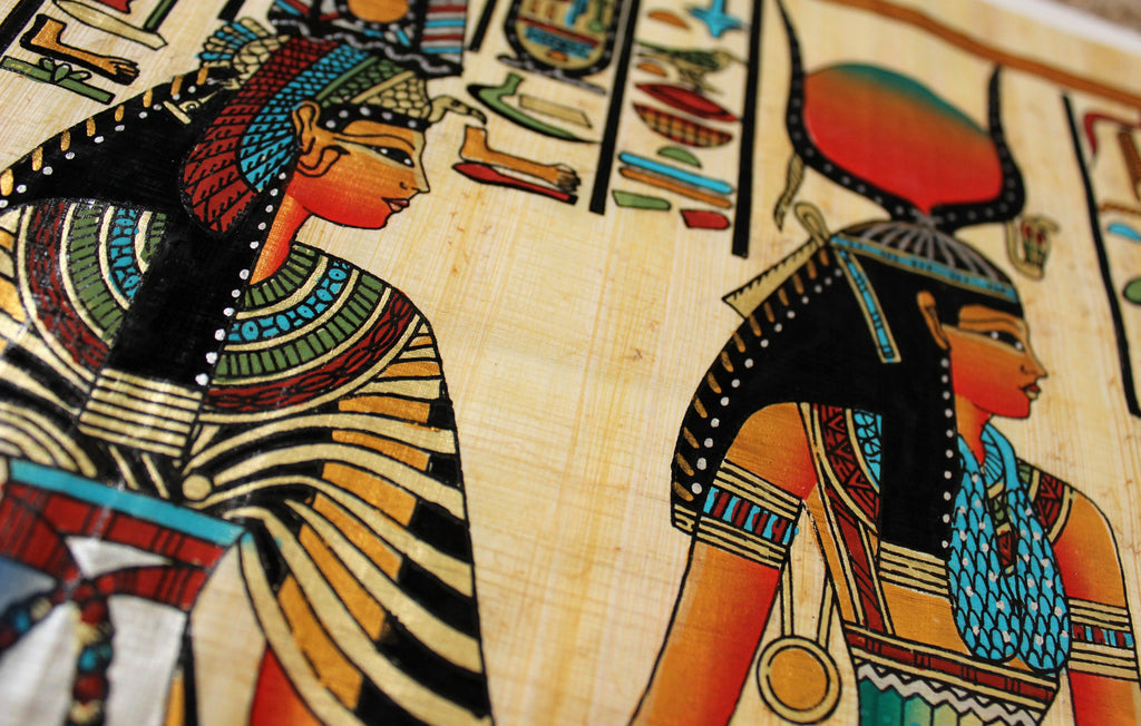 Isis and Queen Nefertari | Ancient Egyptian Papyrus Painting Closeup Arkan Gallery