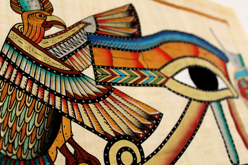 Eye of Ra | Ancient Egyptian Papyrus Painting Closeup Arkan Gallery