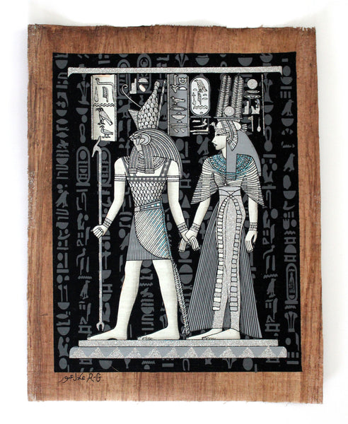 Queen Nefertari and Horus | Ancient Egyptian Papyrus Painting