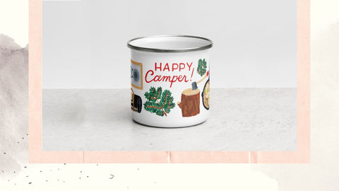 Happy Camper mug with camping essentials painted on by Forage Paper Co
