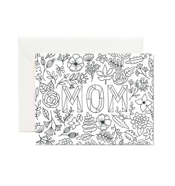 Mom Coloring Card