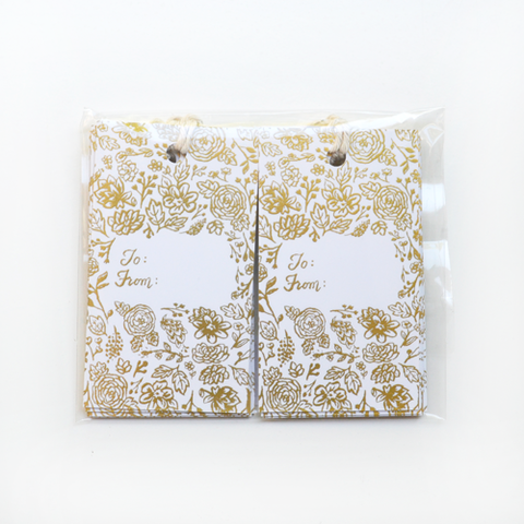 Gold Floral Gift Tag