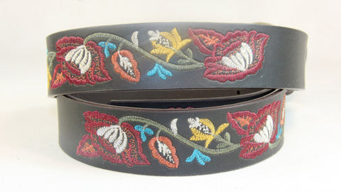 Men's Casual Embroidered Leather Belt Wholesale LA2042 1 dozen Per PACK
