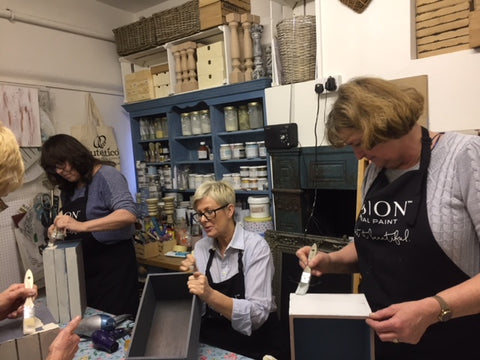 Fusion Mineral Paint beginners 101 Furniture Painting Workshop, held at Vintage Attic Sevenoaks, Kent, UK