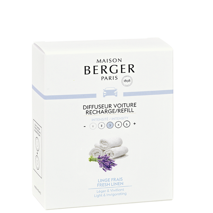 Maison Berger - Fresh Linen Set of 2 Car Diffuser Refills - Car Diffusers