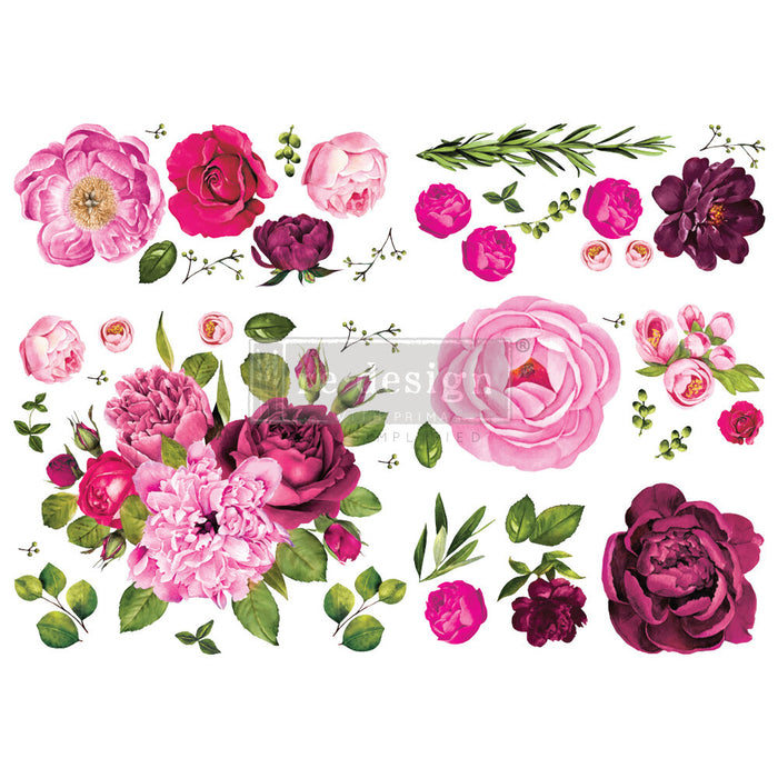 ** **New ** **Re-Design Prima Transfers ** ** Lush Floral I ** **