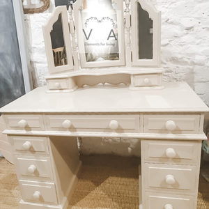 Solid Pine Desk Dressing Table - Fusion Mineral Paint Cathedral Taupe - Vintage Attic Sevenoaks Kent UK