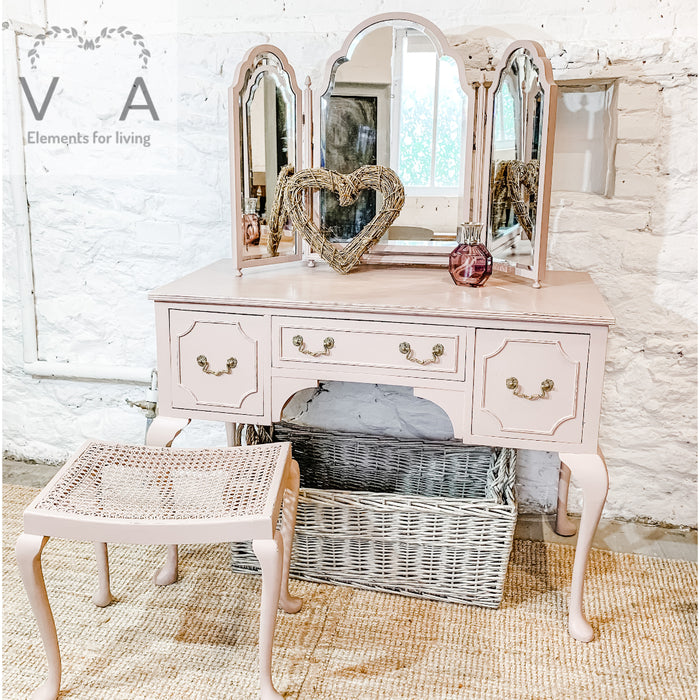 Vintage Reproduction Dressing Table with Mirror & Stool- Hand Painted Furniture - Fusion Mineral Paint Damask