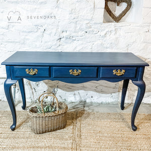 Vintage Console Table - Fusion Mineral Paint Midnight Blue - Vintage Attic Sevenoaks Kent UK