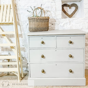 Old Pine Hand Painted Chest of Drawers - Fusion Mineral Paint Putty - Vintage Attic Sevenoaks Kent UK