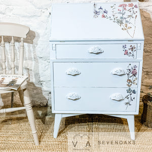 Vintage Ladies Writing Bureau - Dixie Belle Paint Paint Blue - Re-Design with Prima Decor Transfer Fleur - Vintage Attic Sevenoaks Kent UK