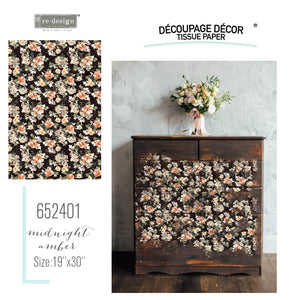 Decoupage tissue paper br redesign with prima available from approved online retailer and official UK stockist located in Sevenoaks Kent UK Midnight Amber Decor Papers