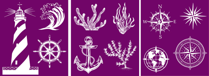 "Nautical | Silk Screen Stencils | Belles & Whistles | Dixie Belle Paint | 8"" X 10"""