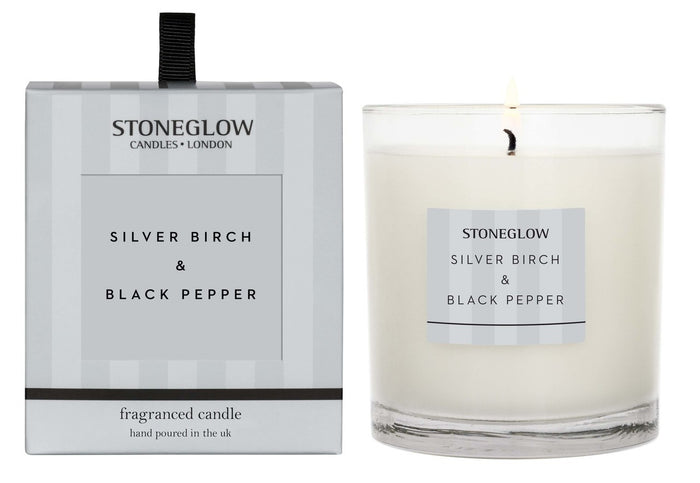 Modern Classic - Silver Birch & Black Pepper Candle Tumbler - Stoneglow