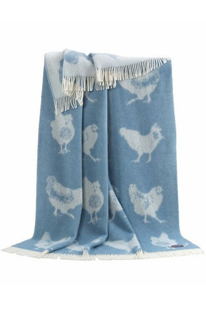 Chicken Wool Throw / Blanket, blue, available from official UK online retailer and approved stockist, Vintage Attic Sevenoaks, Kent
